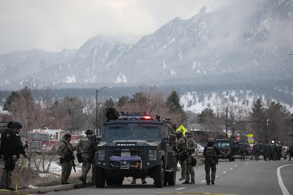 Police outside a King Soopers grocery store where a shooting took place Monday, 22 March 2021, in Boulder, Colorado.