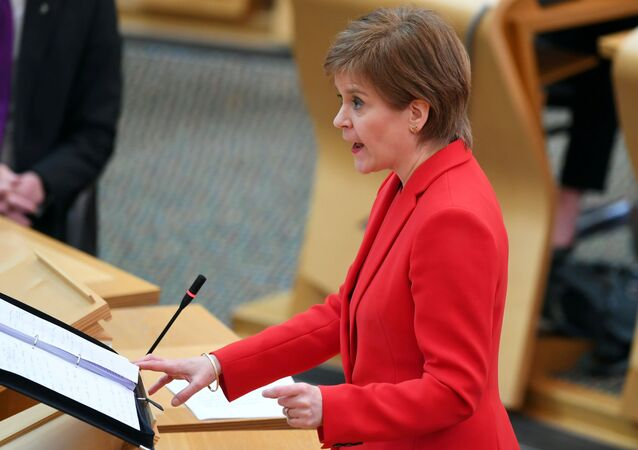 Scotland's First Minister Nicola Sturgeon attends First Minister's Questions at the Scottish Parliament in Edinburgh, Scotland, Britain March 18, 2021