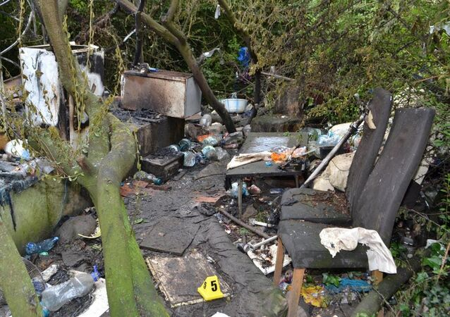 The remains of a hut in Ilford, east London which was set on fire killing Ionut Manea in June 2019