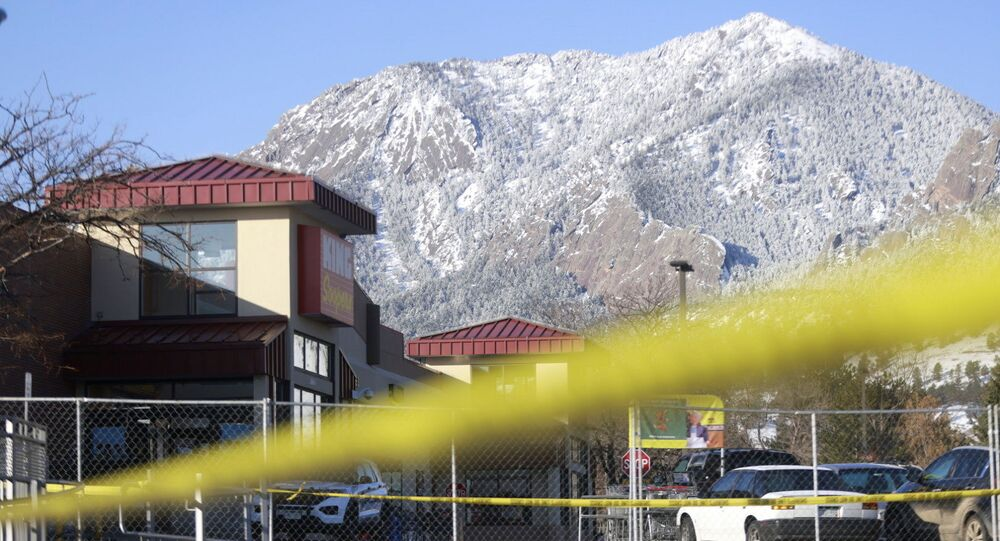 A view of King Soopers grocery store the morning after the mass shooting, in Boulder, Colorado, U.S., March 23, 2021.