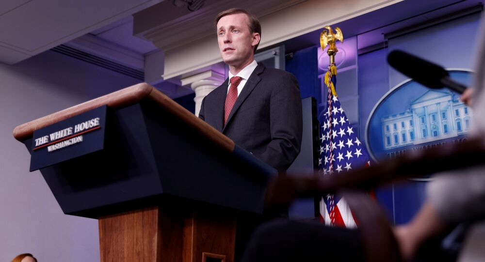 White House National Security Adviser Jake Sullivan delivers remarks during a press briefing at the White House in Washington, US, 12 March 2021. REUTERS/Tom Brenner