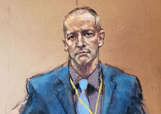 Derek Chauvin, the former Minneapolis police officer facing murder charges in the death of George Floyd, is introduced to potential jurors during jury selection in his trial in Minneapolis, Minnesota, U.S., March 15, 2021 in this courtroom sketch from a video feed of the proceedings