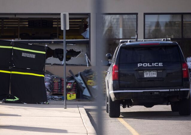 The morning after the mass shooting there is damage to the King Soopers grocery store, in Boulder, Colorado, U.S., March 23, 2021.