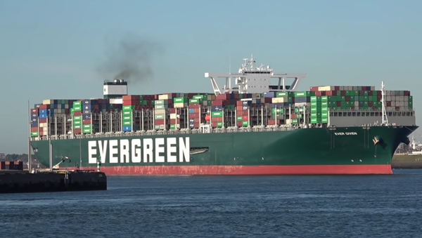 The Panama-flagged container ship Ever Given arriving in Rotterdam harbor in August 2020 - Sputnik International