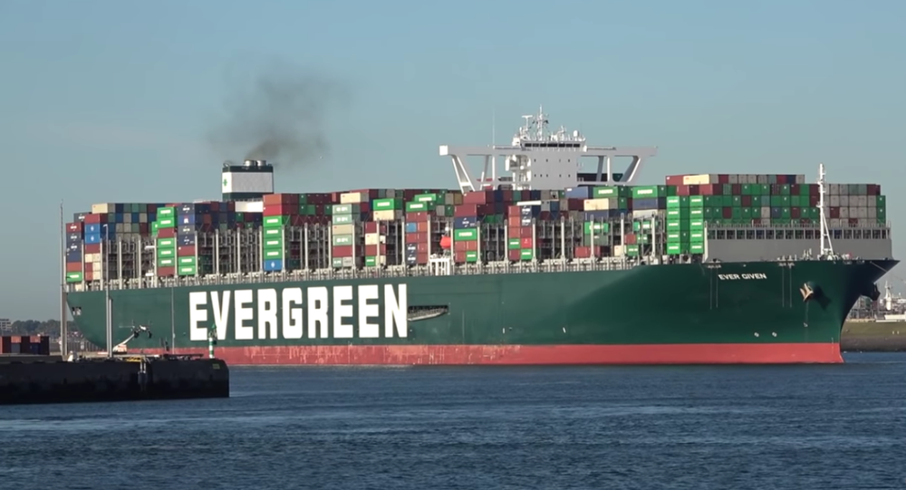 The Panama-flagged container ship Ever Given arriving in Rotterdam harbor in August 2020