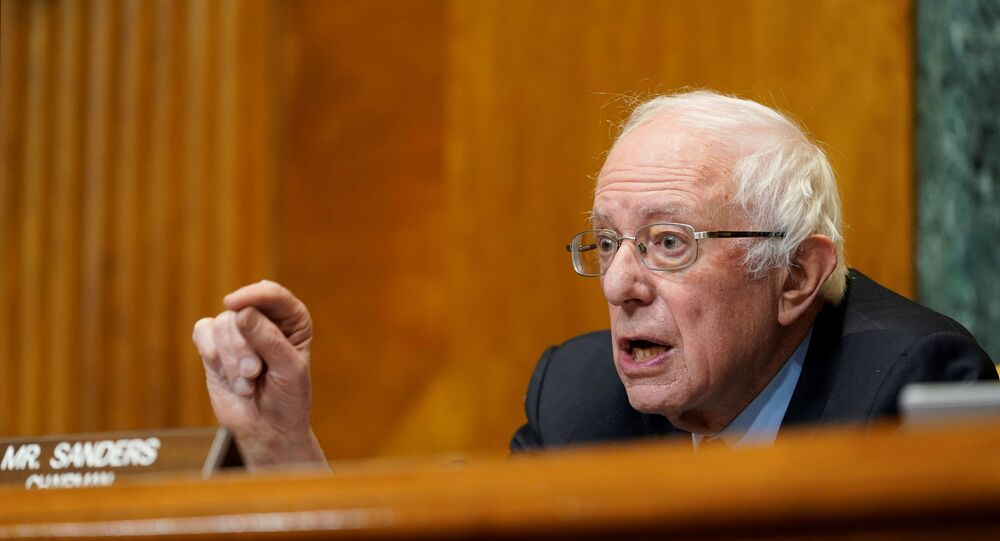 Senate Budget Committee Chairman Sen. Bernie Sanders, I-Vt., speaks during a hearing examining wages at large profitable corporations on Capitol Hill in Washington, U.S. February 25, 2021