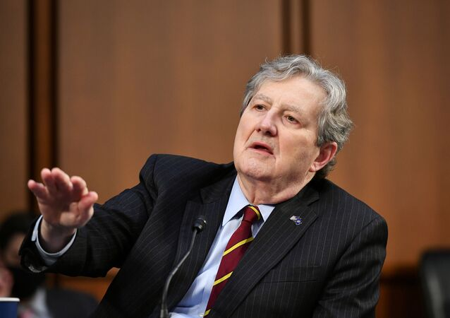 U.S. Senator John Kennedy (R-LA) speaks as FBI Director Christopher Wray testifies before the Senate Judiciary Committee on the January 6th insurrection, in the Hart Senate Office Building on Capitol Hill in Washington, DC, U.S. March 2, 2021