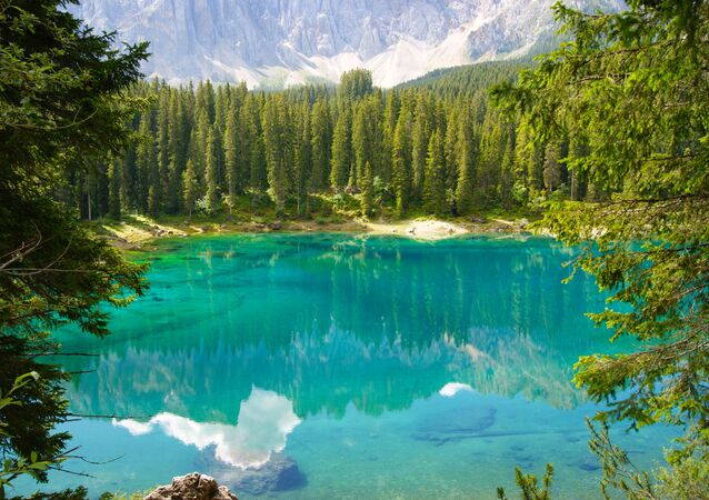 Lago di Carezza, the famously beautiful alpine lake hidden in the Italian Dolomites.