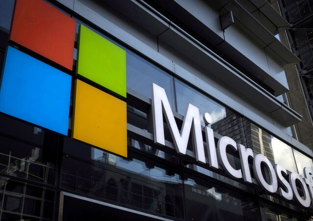 A Microsoft logo is seen on an office building in New York City