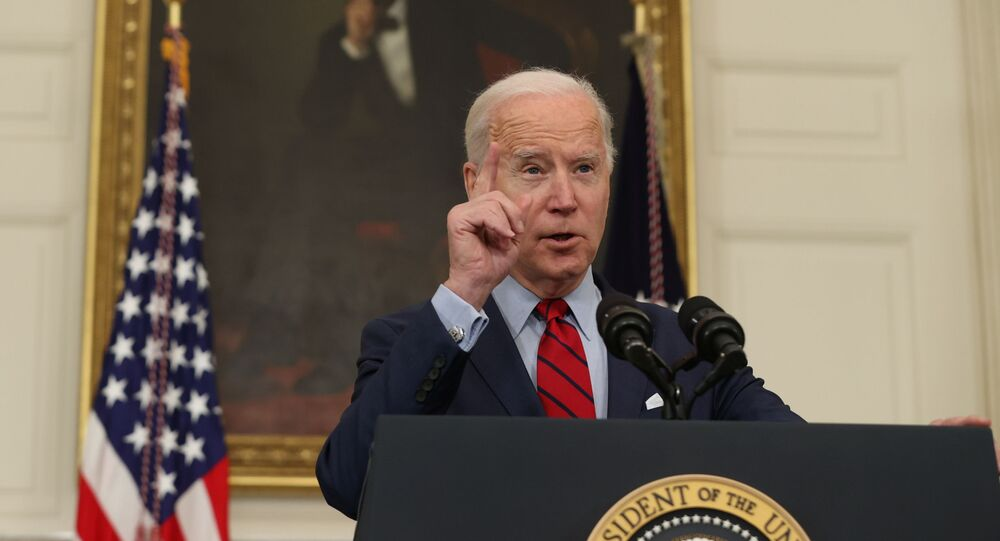 US President Joe Biden speaks about the mass shooting in Colorado from the State Dining Room at the White House in Washington, DC, 23 March 2021.