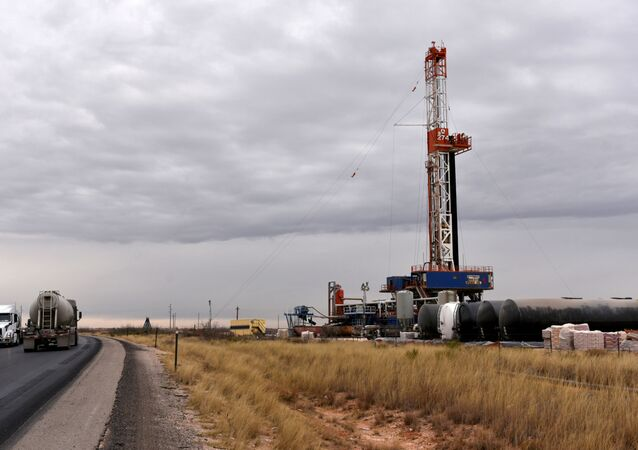 A drilling rig operates in the Permian Basin oil and natural gas production area in Lea County, New Mexico, U.S., February 10, 2019.