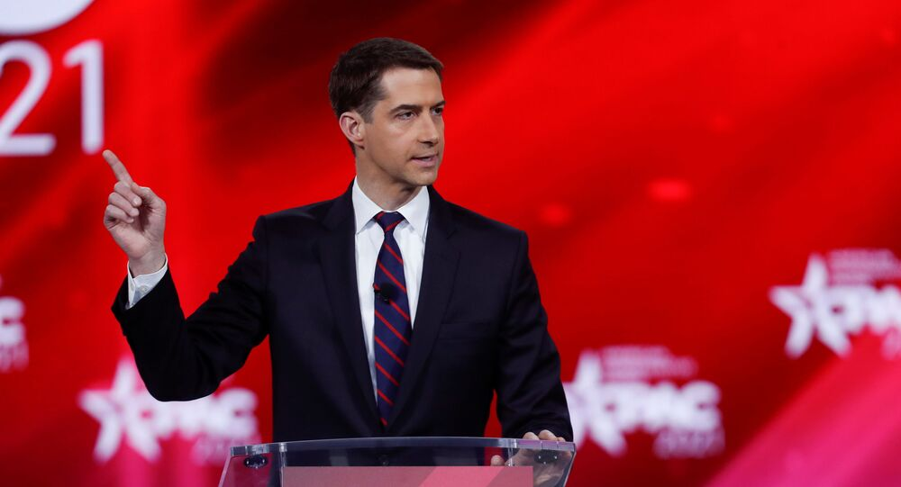 U.S. Sen. Tom Cotton of Arkansas speaks at the Conservative Political Action Conference (CPAC) in Orlando, Florida, U.S. February 26, 2021.