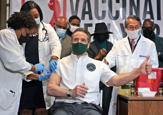 New York Governor Andrew Cuomo is vaccinated at a church in the Harlem neighborhood of New York City amid the coronavirus disease (COVID-19) pandemic, New York, U.S., March 17, 2021