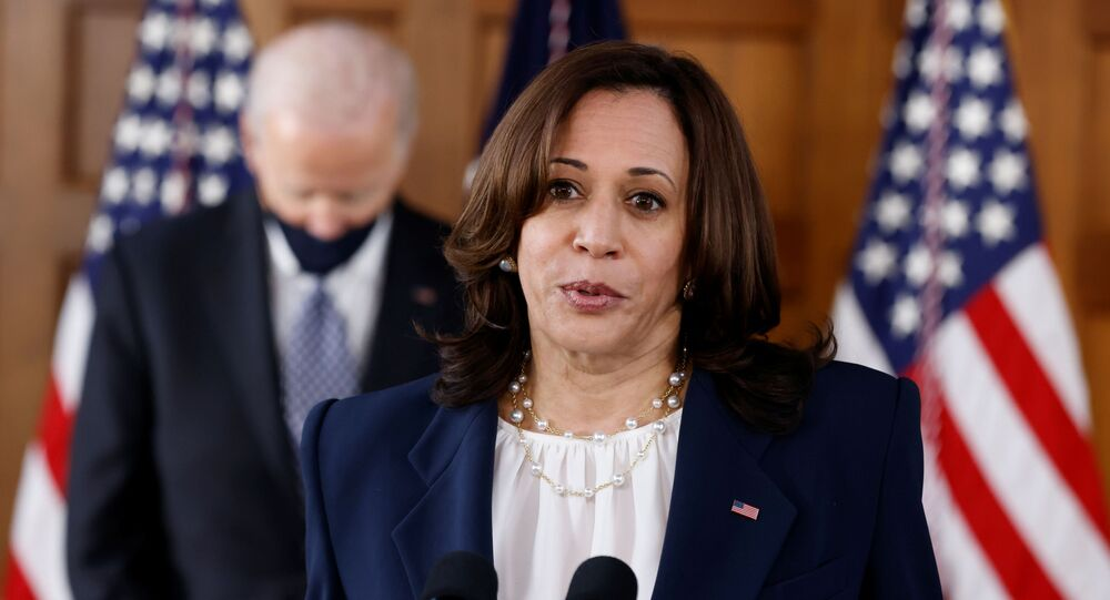 US President Joe Biden and Vice-President Kamala Harris address an audience after meeting with Asian-American leaders to discuss the ongoing attacks and threats against the community, during a stop at Emory University in Atlanta, Georgia, US, 19 March 2021.