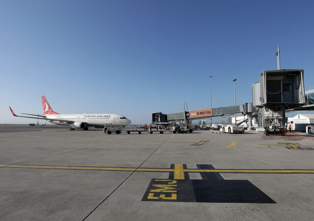 A view shows a Turkish Airlines Boeing 737 parked on the tarmac of Nice Cote d'Azur Airport Terminal 2 amid the coronavirus disease (COVID-19) outbreak in Nice, France, March 1, 2021.   REUTERS/Eric Gaillard