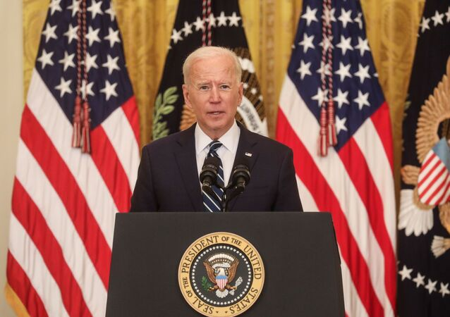 U.S. President Joe Biden speaks to reporters as he holds his first formal news conference in the East Room of the White House in Washington, U.S., March 25, 2021. REUTERS/Leah Millis