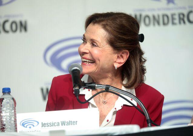 Jessica Walter speaking at the 2019 WonderCon, for Archer, at the Anaheim Convention Center in Anaheim, California.