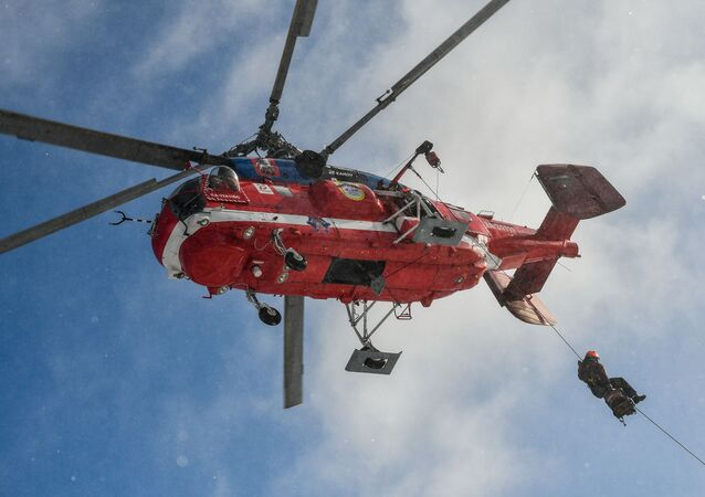 A Ka-32A11BC fire-and-rescue helicopter takes part in demonstration drills of the Moscow Aviation Centre air rescue service, in Moscow, Russia.