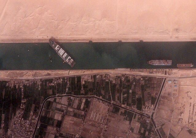 The 400-meter, 224,000-tonne Ever Given container ship, leased by Taiwan's Evergreen Marine Corp, blocks Egypt's Suez Canal in a BlackSky satellite image taken at 15:30 local time, 25 March 2021