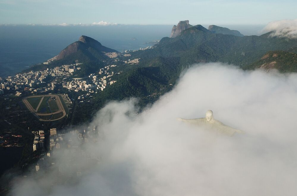 The Christ the Redeemer statue is seen during its restoration as work is underway ahead of its 90th anniversary, in Rio de Janeiro, Brazil, 24 March 2021. Picture taken with a drone.
