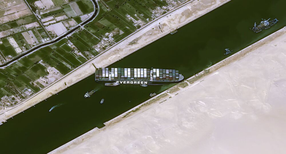 A satellite image shows stranded container ship Ever Given after it ran aground in Suez Canal, Egypt March 25, 2021. CNES/AIRBUS DS via REUTERS