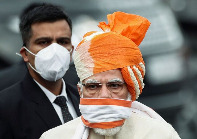 Indian Prime Minister Narendra Modi arrives to attend the Independence Day celebrations at the historic Red Fort in Delhi, India, August 15, 2020