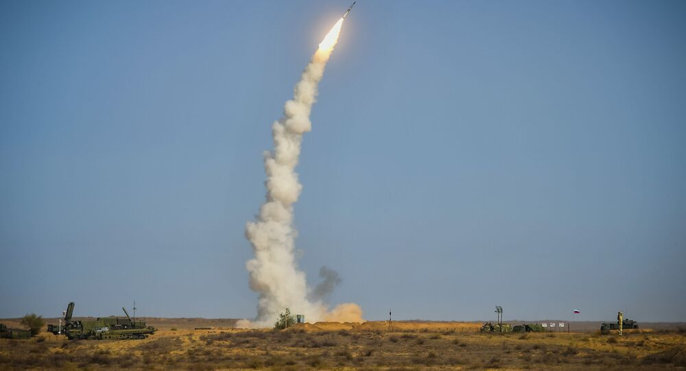 Russian S-400 air defence system launches missile during drills