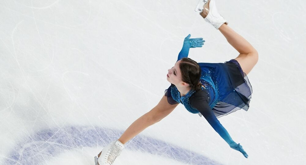 Russia's Anna Shcherbakova performing her short program in ladies' singles at 2021 World Figure Skating Championships in Stockholm, Sweden