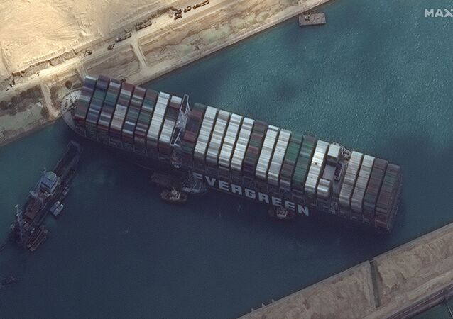 Ever Given container ship is pictured in Suez Canal in this Maxar Technologies satellite image taken on March 26, 2021.
