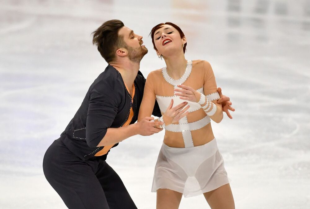 France's Cleo Hamon and Denys Strekalin in action during the pairs free skating final at the World Figure Skating Championship in Stockholm on 25 March 2021.