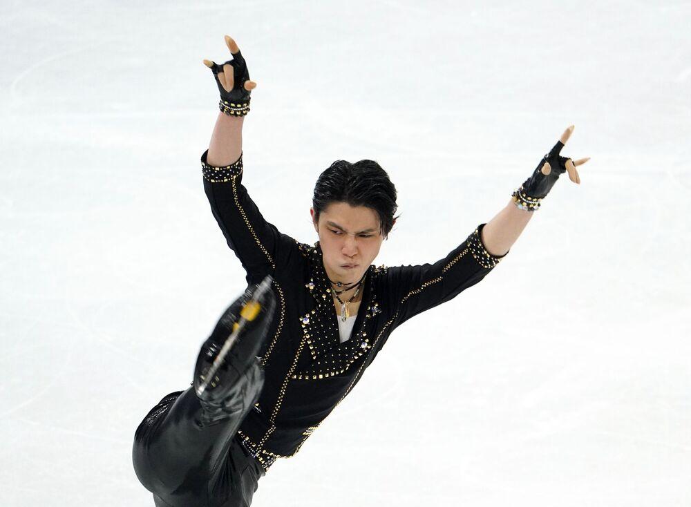 Yuzuru Hanyu of Japan performs during men single's short programme.
