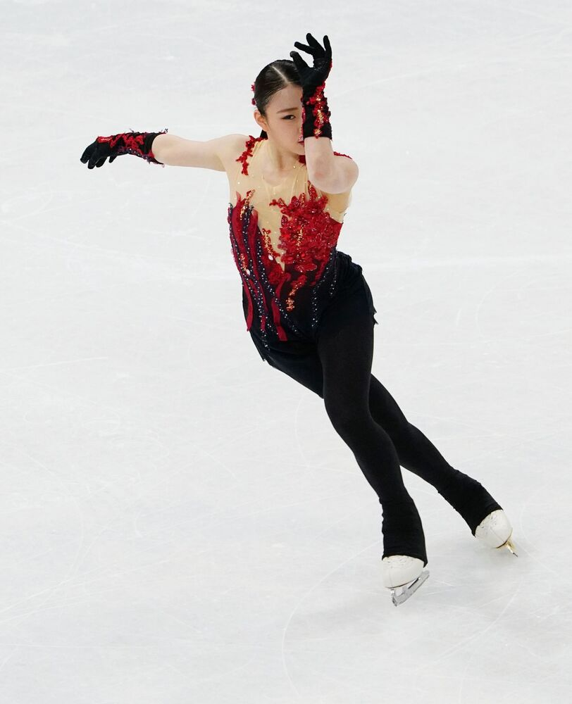 Rika Kihira of Japan performs competing in the women single's short programme.