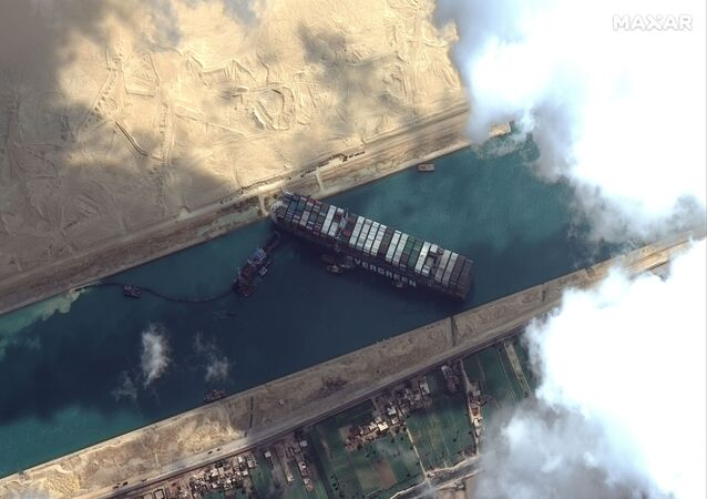 Ever Given container ship is pictured in Suez Canal in this Maxar Technologies satellite image taken on 26 March 2021
