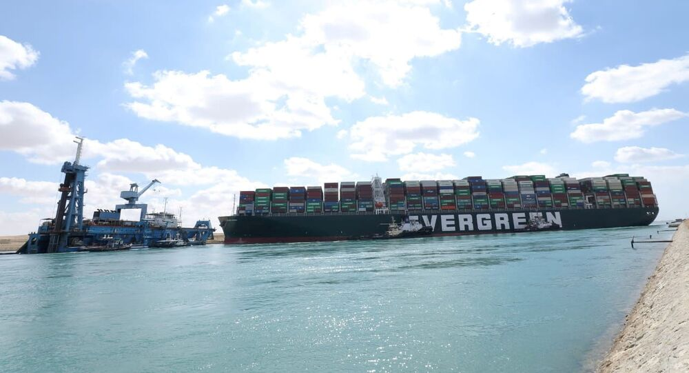 The stranded container ship Ever Given, one of the world's largest container ships, after it ran aground, 26 March
