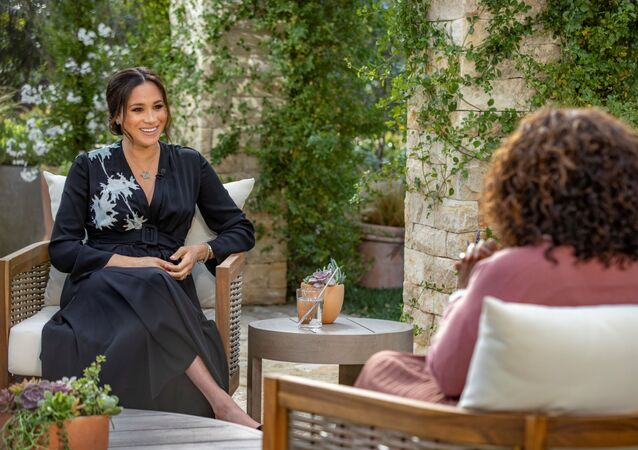 Meghan, The Duchess of Sussex, gives an interview to Oprah Winfrey in this undated handout photo