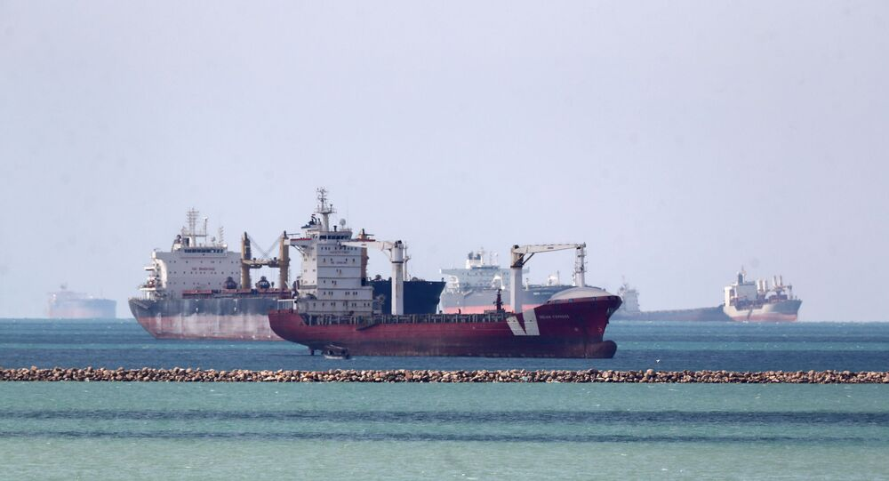 Ships are seen at the entrance of Suez Canal, where stranded container ship Ever Given run aground, Egypt on 28 March 2021.