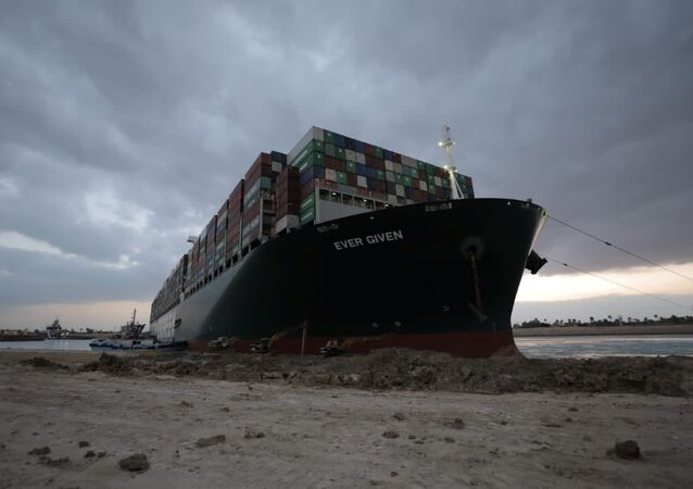 Stranded ship Ever Given, one of the world's largest container ships, is seen after it ran aground in the Suez Canal, Egypt, 28 March 2021.