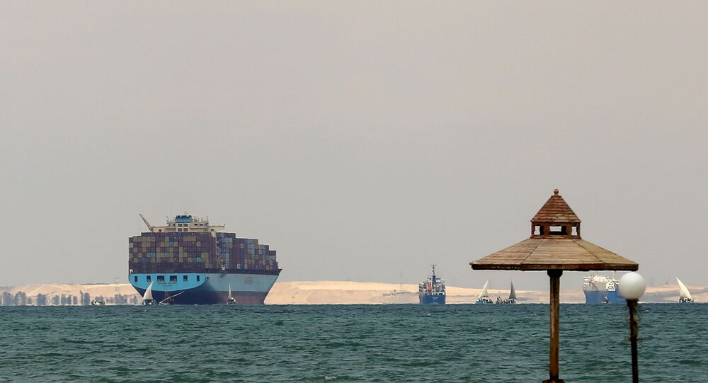 Ships are anchored outside the Suez Canal, where a container ship ran aground and blocked traffic, near Ismailia, Egypt, March, 28, 2021.