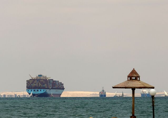 Ships are anchored outside the Suez Canal, where a container ship ran aground and blocked traffic, near Ismailia, Egypt, 28 March 2021.