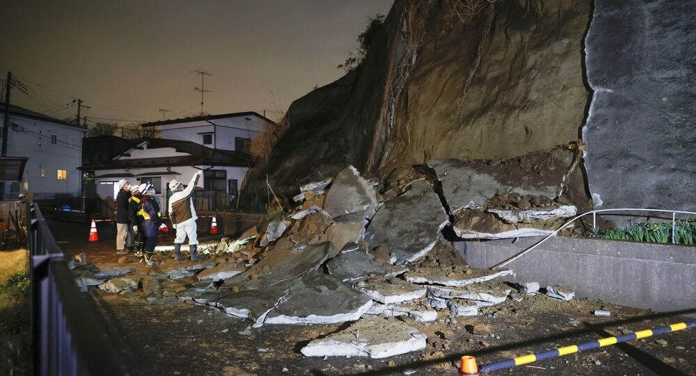 A part of a cliff which collapsed due to an earthquake is pictured in Shiogama, Miyagi prefecture, Japan in this photo taken by Kyodo on March 20, 2021.