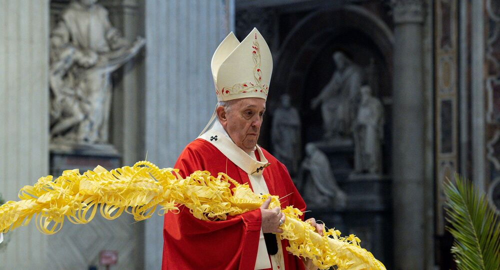 Pope Francis holds mass on Palm Sunday at the Vatican with a limited number of faithful as strict COVID-19 restrictions remain in place over the Easter period, in St. Peter's Basilica at the Vatican, March 28, 2021