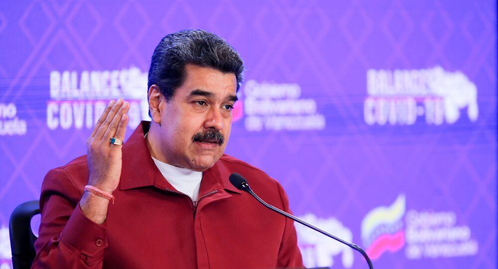 Venezuela's President Nicolas Maduro gives a speech in Caracas, Venezuela March 3, 2021.
