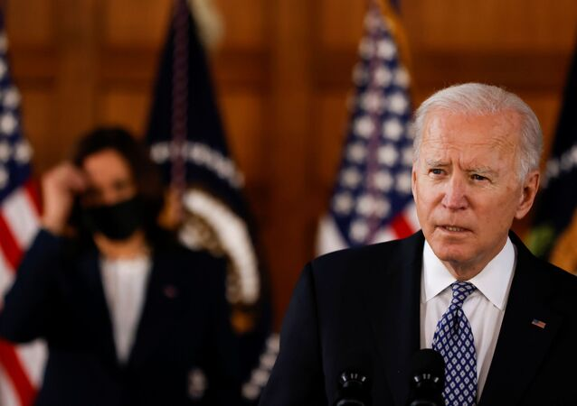 U.S. President Joe Biden and Vice President Kamala Harris deliver remarks after a meeting with Asian-American leaders to discuss the ongoing attacks and threats against the community, during a stop at Emory University in Atlanta, Georgia, U.S., March 19, 2021