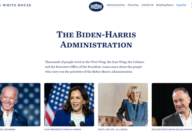 Screenshot from The Biden-Harris administration tab on the official White House website