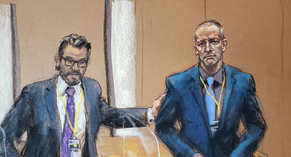 Defence attorney Eric Nelson introduces Derek Chauvin, the former Minneapolis police officer facing murder charges in the death of George Floyd, to potential jurors during jury selection in his trial in Minneapolis, Minnesota, U.S., March 15, 2021 in this courtroom sketch from a video feed of the proceedings.