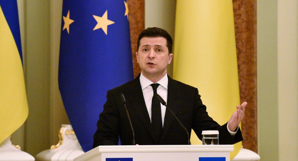 President of Ukraine Volodymyr Zelenskyy during a meeting with President of the European Union Charles Michel in Kiev.