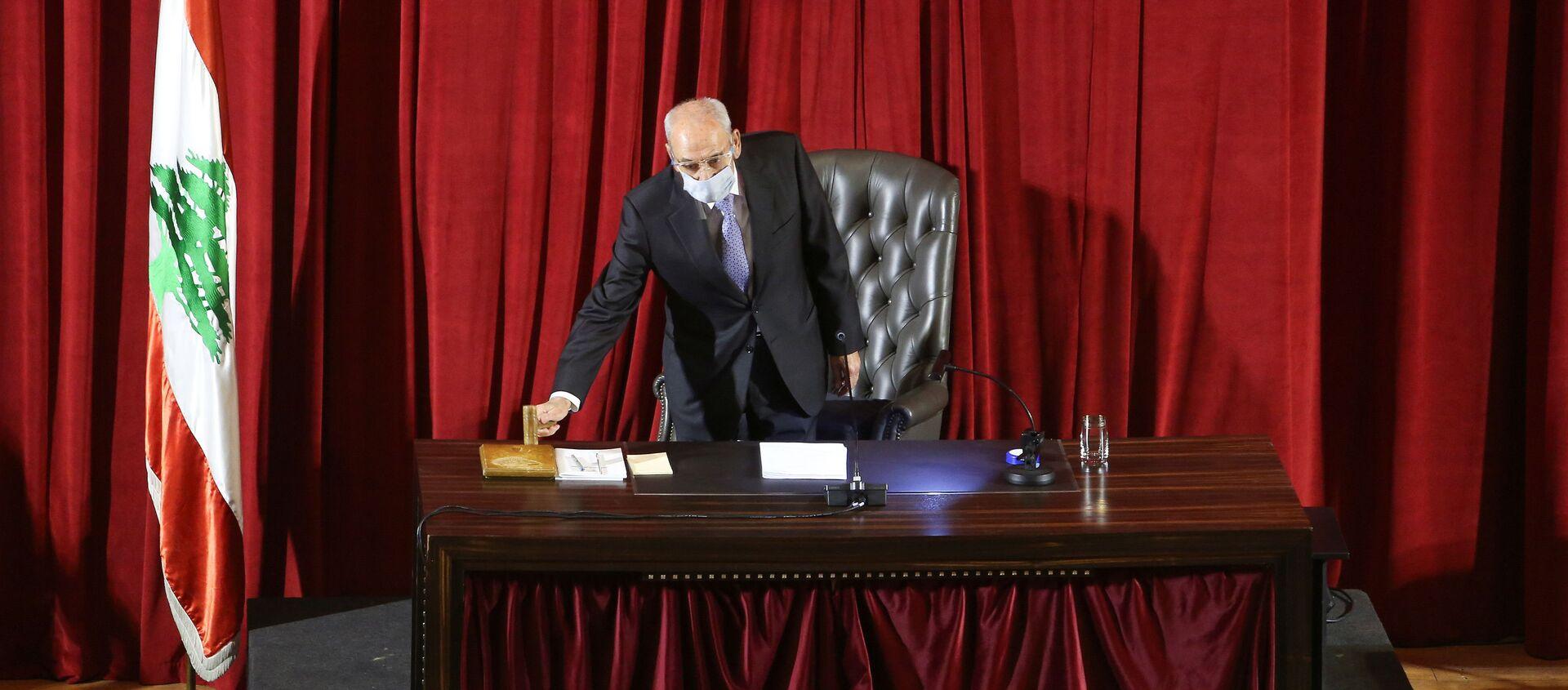 Lebanese Parliament Speaker Nabih Berri heads a legislative session at UNESCO Palace in Beirut, Lebanon March 12, 2021. - Sputnik International, 1920, 30.03.2021