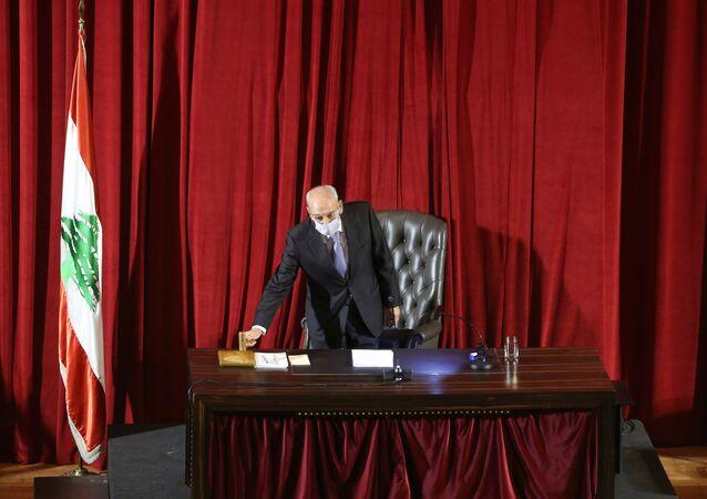 Lebanese Parliament Speaker Nabih Berri heads a legislative session at UNESCO Palace in Beirut, Lebanon March 12, 2021.