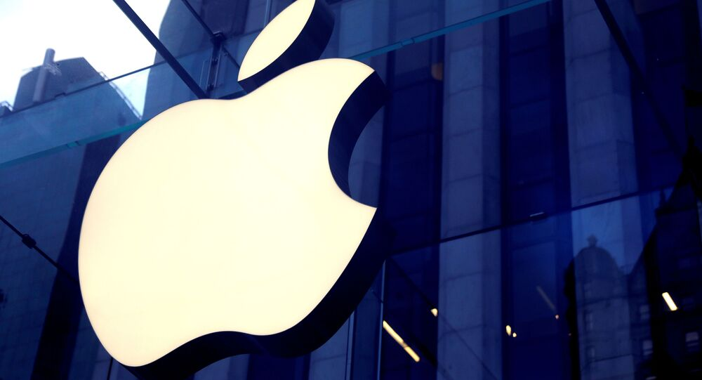 The Apple Inc logo is seen hanging at the entrance to the Apple store on 5th Avenue in Manhattan, New York, U.S., October 16, 2019.
