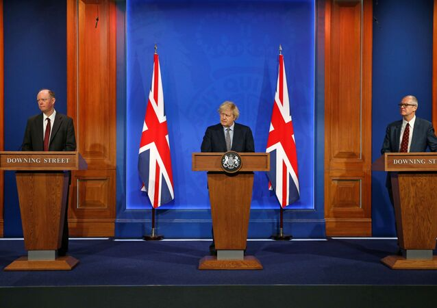 Britain's Chief Medical Officer for England Chris Whitty, Britain's Prime Minister Boris Johnson and Britain's Chief Scientific Adviser Patrick Vallance give an update at a news conference on the coronavirus disease (COVID-19) pandemic, in London, Britain March 29, 2021.